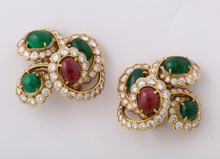 M. Gerard Ruby Emerald Diamond Yellow Gold Clip On Earrings For Sale 2