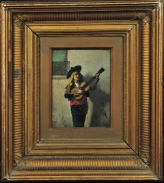 Original Oil Painting of a 19th Century Troubadour. Orientalist. Andalusia, 1883