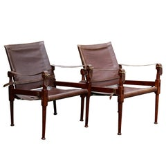 1970's M. Hayat & Bros Ltd. Rosewood And Leather Safari Chair