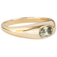 M. Hisae 0.6 Carat Green Sapphire Oval Signet Ring