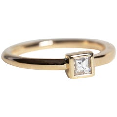 M. Hisae Carré Cut Antique White Diamond Yellow Gold Solitaire Cocktail Ring