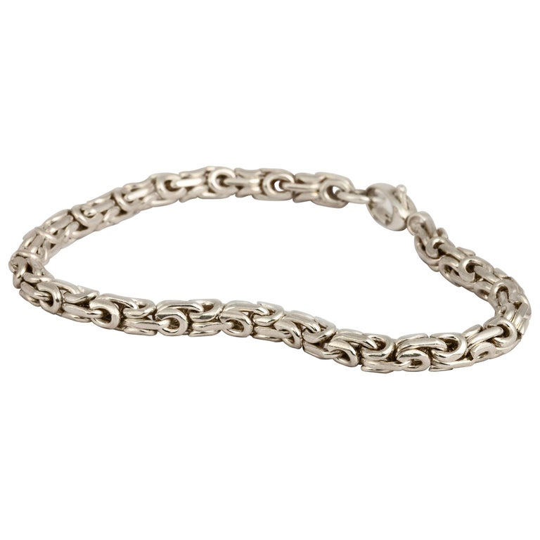 M. Hisae Chunky Sterling Silver Modernist Bracelet For Sale