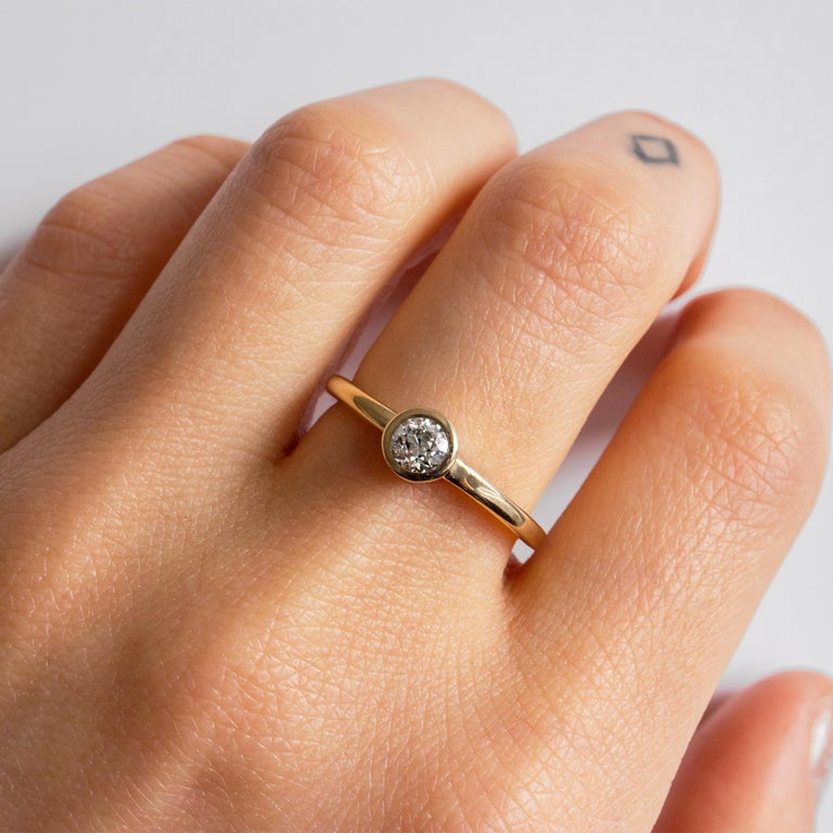 Old European Cut M. Hisae 0.25ct White Diamond Engagement Ring For Sale