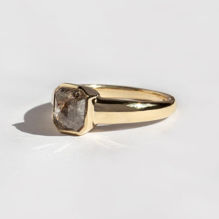 The Lila Ring turns solitaire. Featuring a soft-edged, ultra-comfortable tapered band, contrasting an angular, tapered bezel. The first in a series of completely one-of-a-kind rose cut diamond rings. Because I always have and always will celebrate