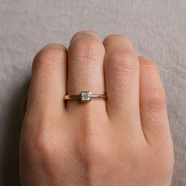 Contemporary M. Hisae Carré Cut Antique White Diamond Engagement Ring For Sale
