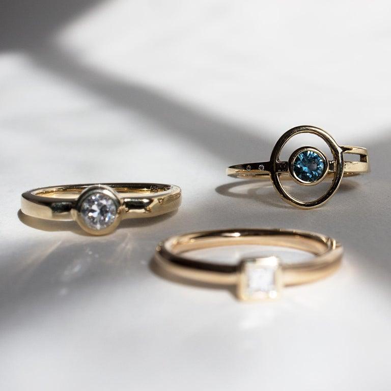 Princess Cut M. Hisae Carré Cut Antique White Diamond Engagement Ring For Sale