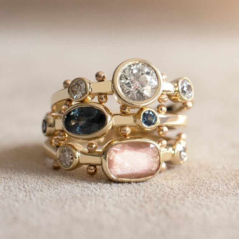 M. Hisae Cushion Sunstone & Champagne Diamond Trinity Ring In New Condition For Sale In Woodbury, CT
