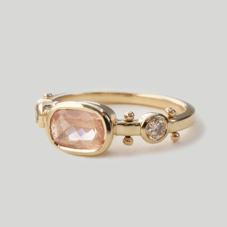 Contemporary M. Hisae Cushion Sunstone & Champagne Diamond Trinity Ring For Sale