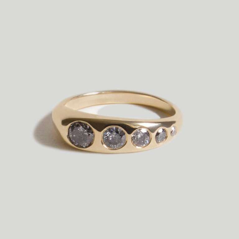 The Queen of them all: Lila Suprima. A diamond-encrusted version of the original Lila Ring featuring approximately 0.7 carats worth of sultry greys in this hyper-modern piece.  STONES ◘  Five sizes of flush-set, brilliant-cut Salt & Pepper Grey