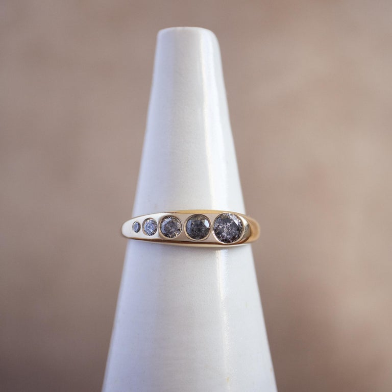 Contemporary M. Hisae Grey Diamond Cocktail Statement Ring For Sale