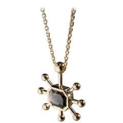 M. Hisae Handmade Unique Grey Rosecut Diamond 14 Karat Gold Sunburst Necklace