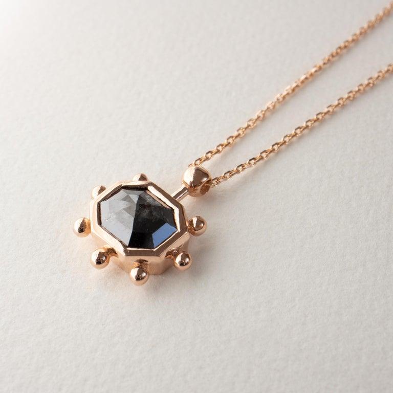 Contemporary M. Hisae Grey Diamond Sunburst Necklace For Sale