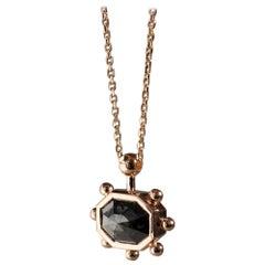 M. Hisae Handmade Unique Grey Rosecut Diamond 18 Karat Gold Sunburst Necklace