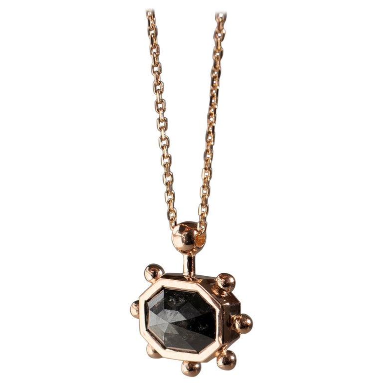 M. Hisae Grey Diamond Sunburst Necklace For Sale