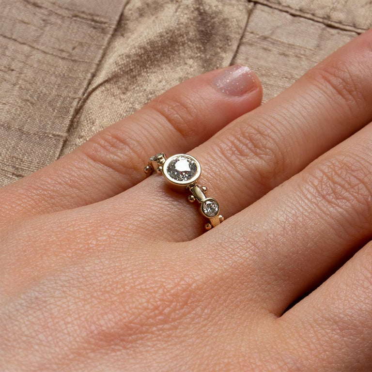 Old European Cut M. Hisae White Diamond Trinity Engagement Ring For Sale