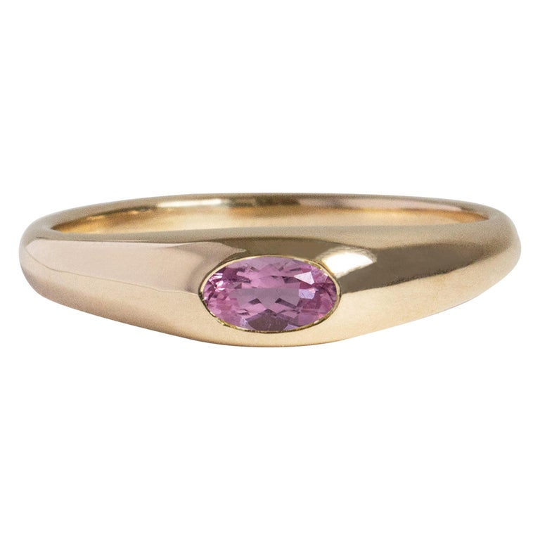 M. Hisae Pink Tourmaline Oval Signet Petite Risa Ring For Sale