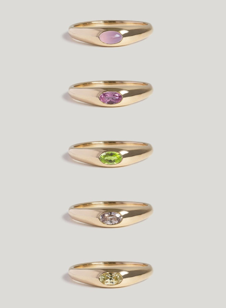Women's or Men's M. Hisae Purple Chalcedony Signet Ring For Sale