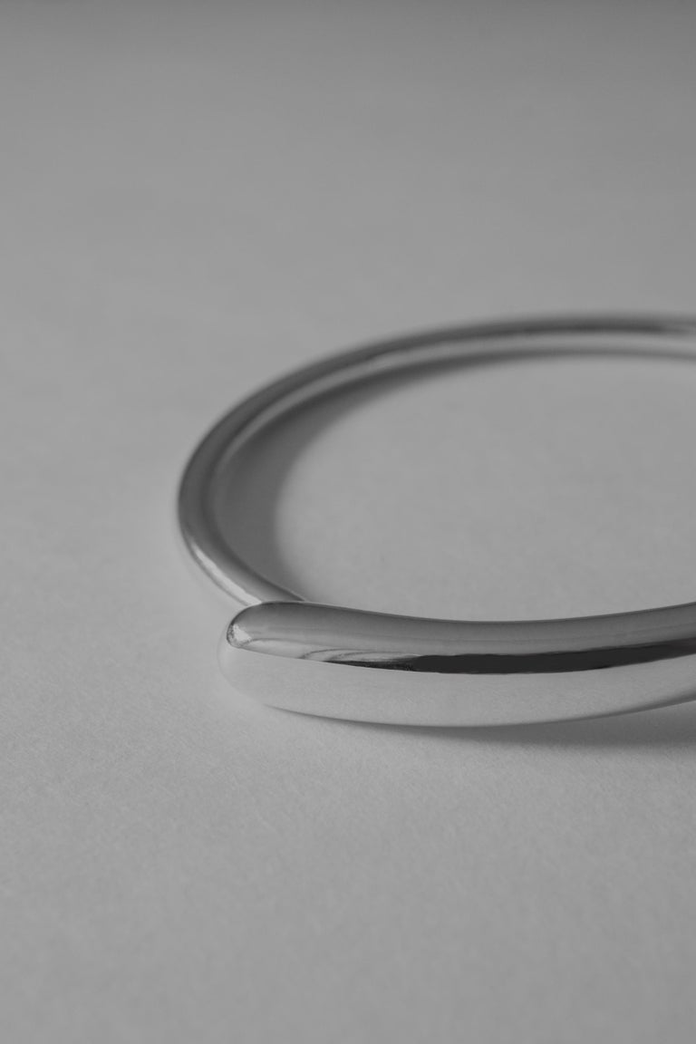 M. Hisae Sculptural Hinged Bangle Bracelet, Ready to Ship in Sterling Silver For Sale 1