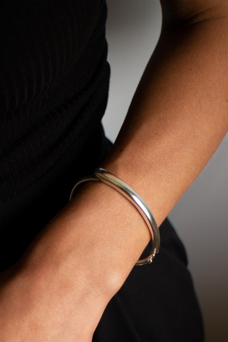 M. Hisae Sculptural Hinged Bangle Bracelet, Ready to Ship in Sterling Silver For Sale 4