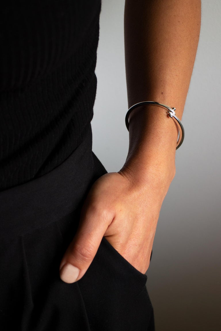 M. Hisae Sculptural Hinged Bangle Bracelet, Ready to Ship in Sterling Silver For Sale 5