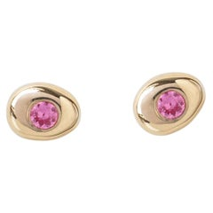 M. Hisae Small Pebble Pink Sapphire Stud Earring