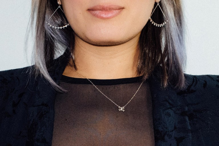 Contemporary M. Hisae White Diamond Bar Necklace For Sale