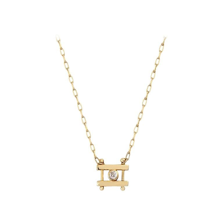 M. Hisae White Diamond Bar Necklace For Sale