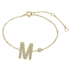 M Initial Bezel Chain Anklet