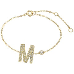M Initial Bezel Chain Bracelet