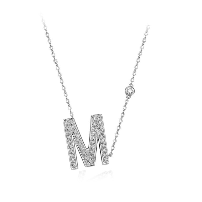 Modern M-Initial Bezel Chain Necklace For Sale