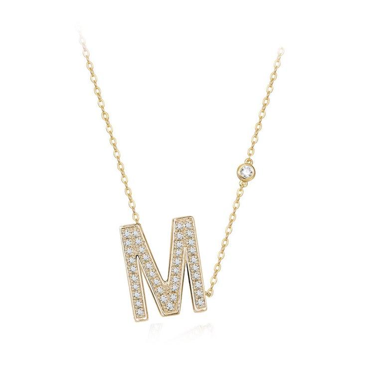 Trillion Cut M-Initial Bezel Chain Necklace For Sale
