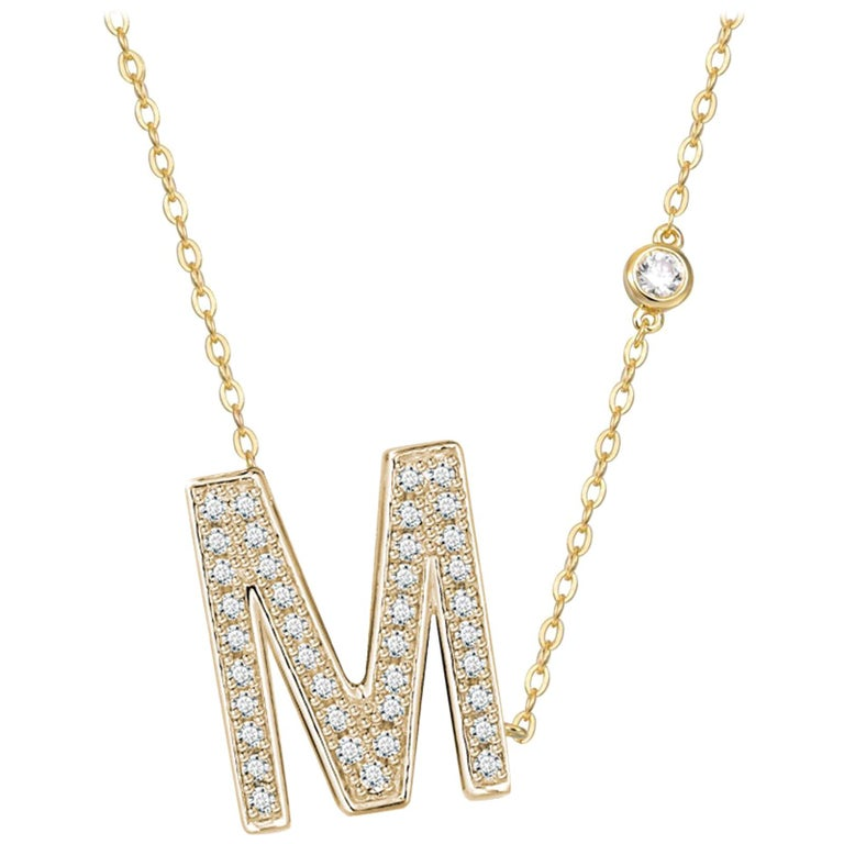 M-Initial Bezel Chain Necklace For Sale