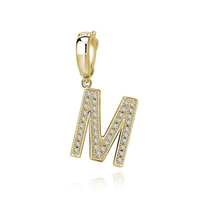 Trillion Cut M Initial Pendant or Charm For Sale