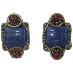 M & J Hansen Blue Stone Clip On Earrings