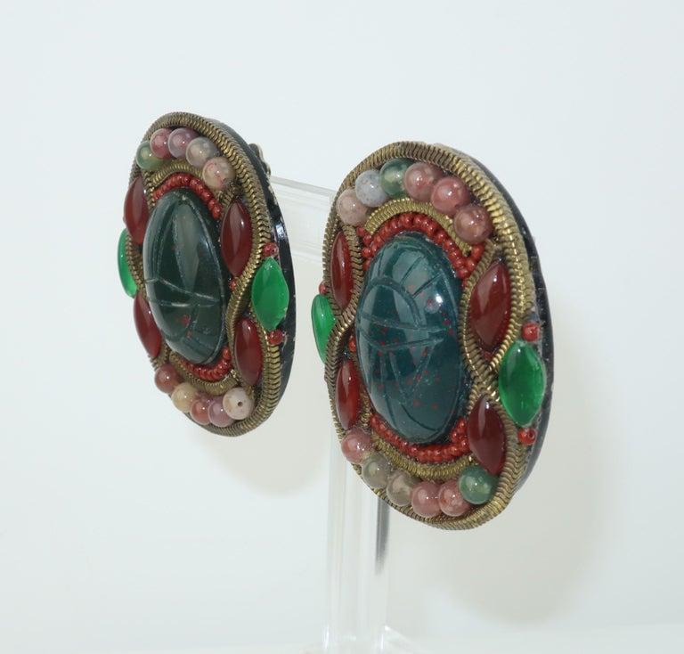 Egyptian Revival M & J Hansen Green Scarab Clip On Earrings For Sale