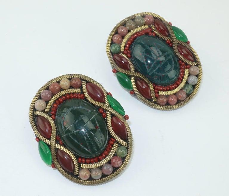 Women's M & J Hansen Green Scarab Clip On Earrings For Sale