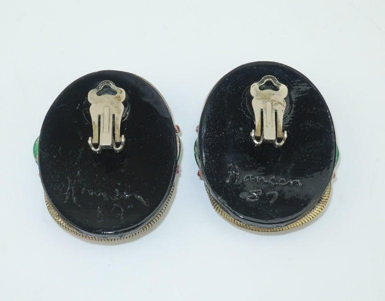 M & J Hansen Green Scarab Clip On Earrings For Sale 1