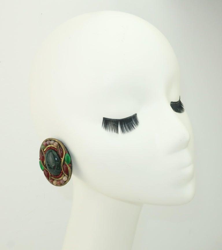 M & J Hansen Green Scarab Clip On Earrings For Sale 2