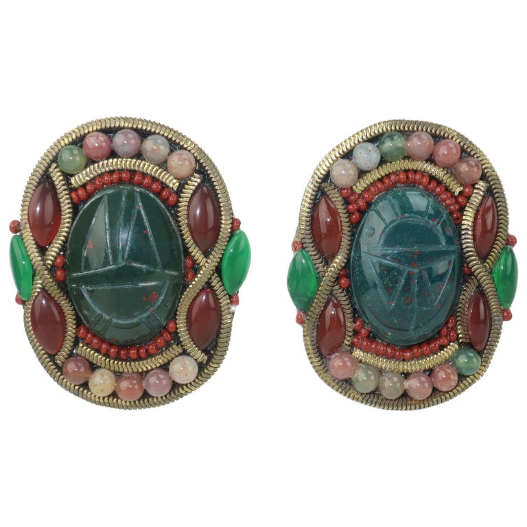 M & J Hansen Green Scarab Clip On Earrings For Sale