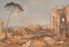 1840's British Grand Tour Painting Ancient Roman Ruins Arcadian Landscape