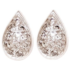 M. Khatau 18K White Gold and White Diamond Raindrop Stud Earrings