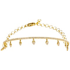 18 Karat Yellow Gold and White Diamond Drop in the Ocean Choker Necklace