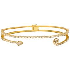 18 Karat Yellow Gold White Diamond Pear Shape Cabochon Warrior Choker Necklace