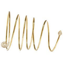 M. Khatau Diamond and 18K Yellow Gold Elastic Spiral Spiro Bracelet