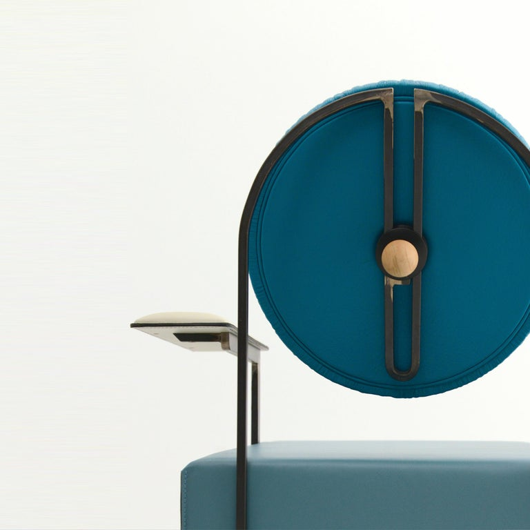Modern M lounge chair, Mixed Blue Leather Upholstery and Iron Frame by Mario Milana For Sale