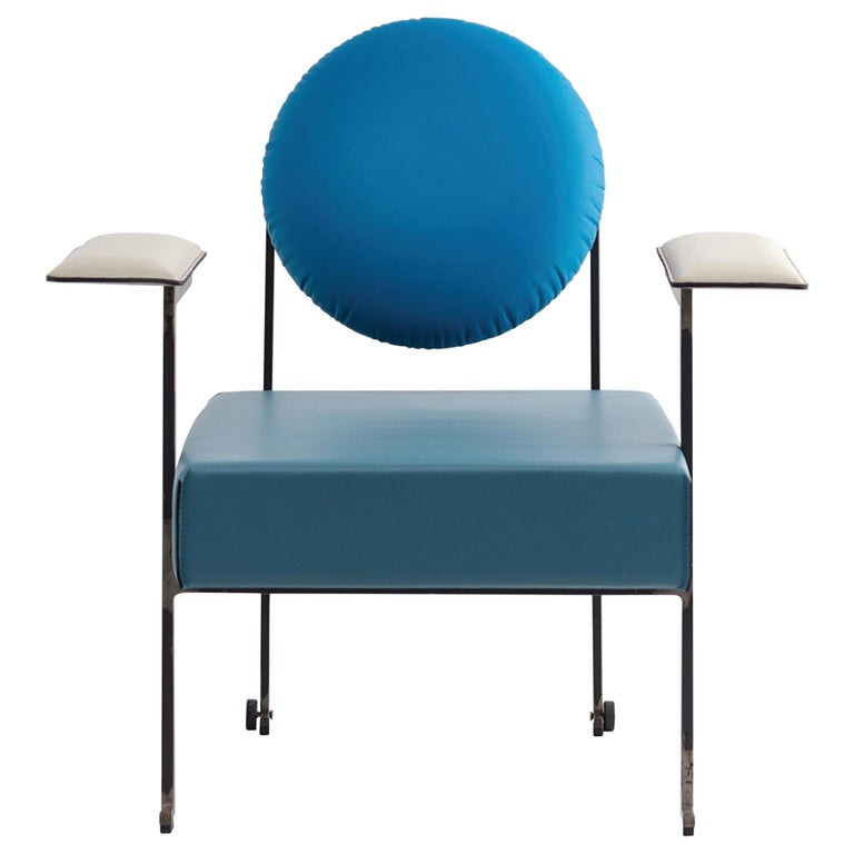 M lounge chair, Mixed Blue Leather Upholstery and Iron Frame by Mario Milana For Sale