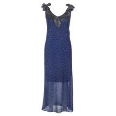 M Missioni Blue Metallic Knit Tie Shoulder Detail Maxi Dress S