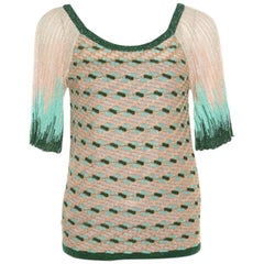 M Missoni Beige and Green Lurex Knit Ombre Raglan Sleeve Top S
