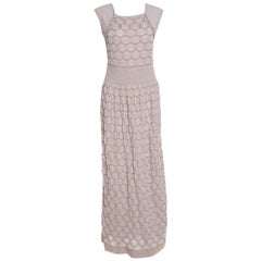 M Missoni Beige Lurex Patterned Knit Sleeveless Maxi Dress L