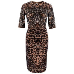 M Missoni Black & Cream Pixelized Camo Short Sleeve Knit Dress - Size US4